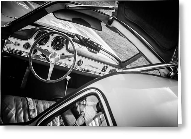 Famous Photographer Greeting Cards - 1955 Mercedes-Benz 300SL Gullwing Steering Wheel - Race Car -0329bw Greeting Card by Jill Reger