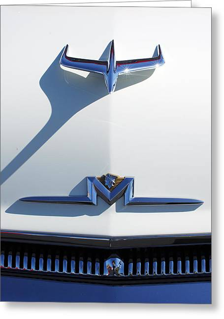 Car Part Greeting Cards - 1955 Mercury Hood Ornament Greeting Card by Jill Reger