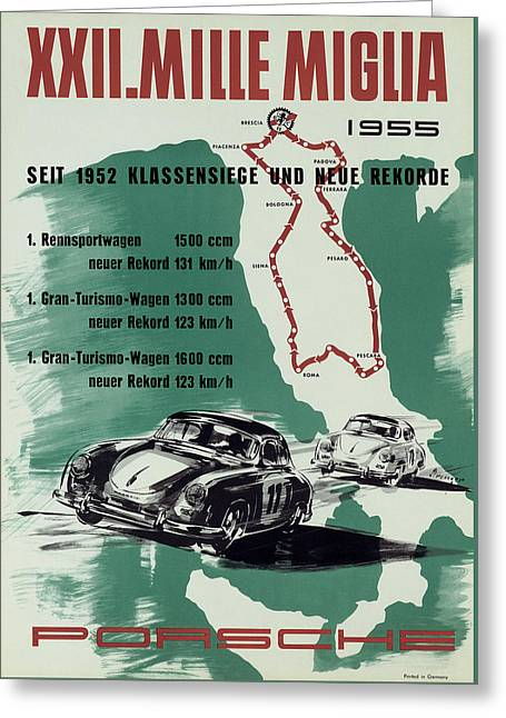 Trial Greeting Cards - 1955 Mille Miglia Porsche Poster Greeting Card by Nomad Art And  Design