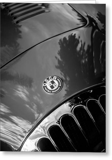 Famous Photographer Greeting Cards - 1955 OSCA MT4 Spyder Hood Emblem -0385bw Greeting Card by Jill Reger
