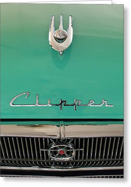 Hoodies Greeting Cards - 1955 Packard Clipper Hood Ornament Greeting Card by Jill Reger