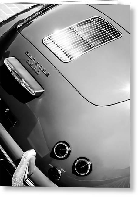 1955 Greeting Cards - 1955 Porsche 356 Pre-A 1500 Speedster Rear Emblem -0924bw Greeting Card by Jill Reger