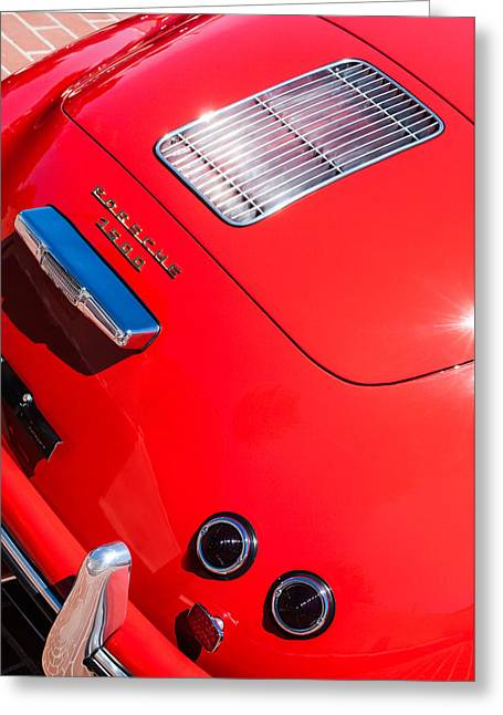 Famous Photographers Greeting Cards - 1955 Porsche 356 Pre-A 1500 Speedster Rear Emblem -0924c Greeting Card by Jill Reger