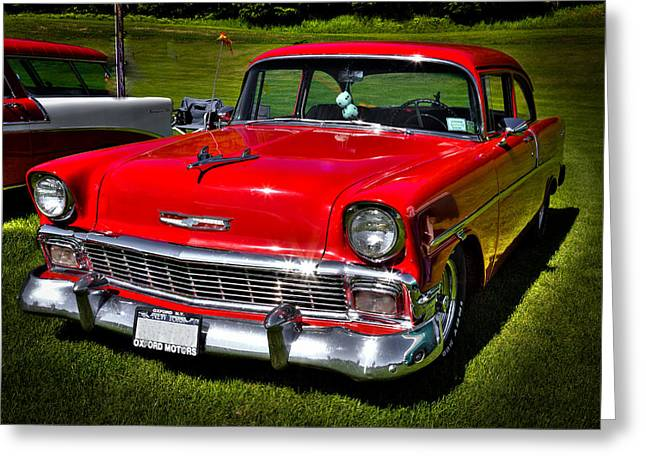 Collector Hood Ornament Greeting Cards - 1955 Red Chevy Bel Air Greeting Card by David Patterson