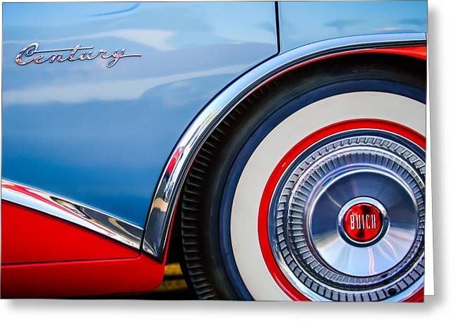 Blue Classic Car Greeting Cards - 1956 Buick Century Wheel Greeting Card by Jill Reger