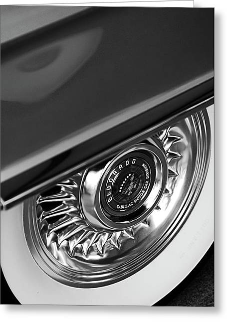Car Part Greeting Cards - 1956 Cadillac Eldorado Wheel Black and White Greeting Card by Jill Reger