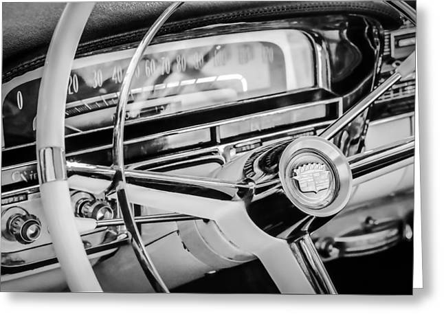 Steering Greeting Cards - 1956 Cadillac Steering Wheel -0161bw Greeting Card by Jill Reger