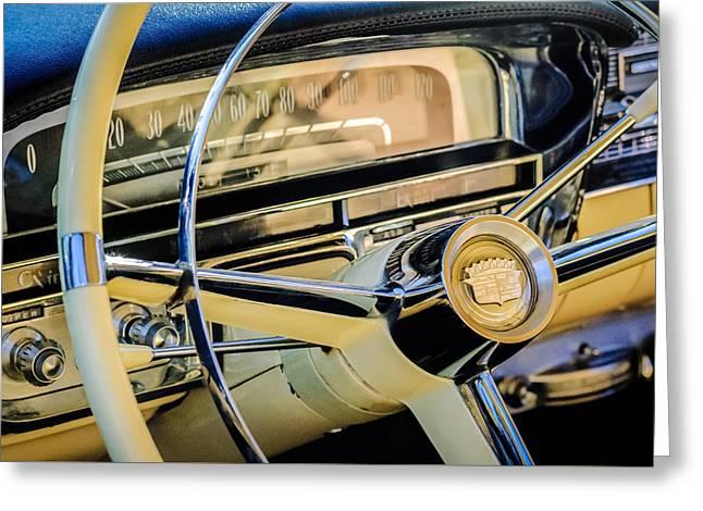 Steering Greeting Cards - 1956 Cadillac Steering Wheel -0161c Greeting Card by Jill Reger