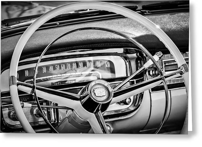 Steering Greeting Cards - 1956 Cadillac Steering Wheel -0480bw Greeting Card by Jill Reger