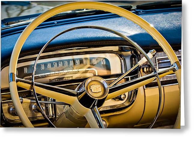 Famous Photographers Greeting Cards - 1956 Cadillac Steering Wheel Greeting Card by Jill Reger