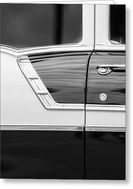 Famous Photographer Greeting Cards - 1956 Chevrolet 2-Door Side -005bw Greeting Card by Jill Reger