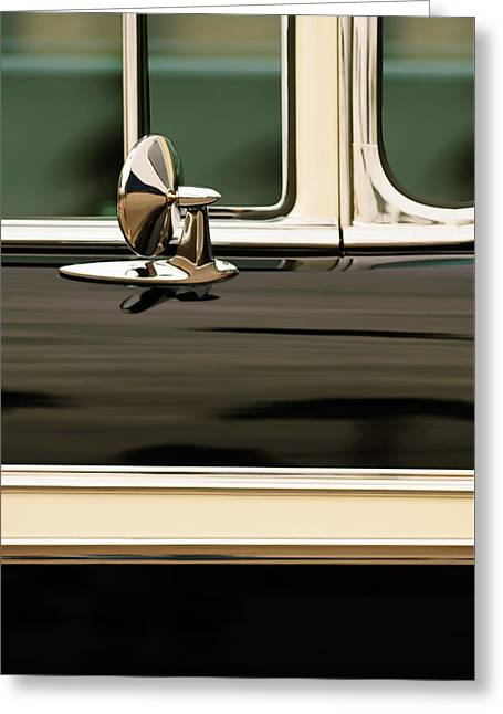 Famous Photographer Greeting Cards - 1956 Chevrolet 2-Door Side Mirror -002c Greeting Card by Jill Reger