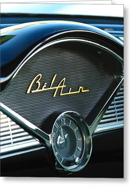 Clock Greeting Cards - 1956 Chevrolet Belair Dashboard Clock Greeting Card by Jill Reger