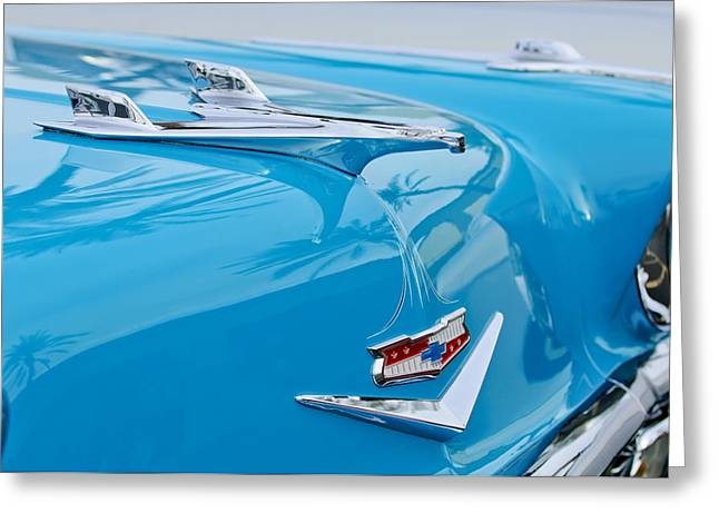 Nomads Greeting Cards - 1956 Chevrolet Belair Nomad Hood Ornament Greeting Card by Jill Reger