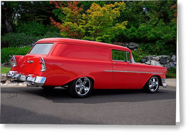 Slam Greeting Cards - 1956 Chevrolet Sedan Delivery IV Greeting Card by Dave Koontz