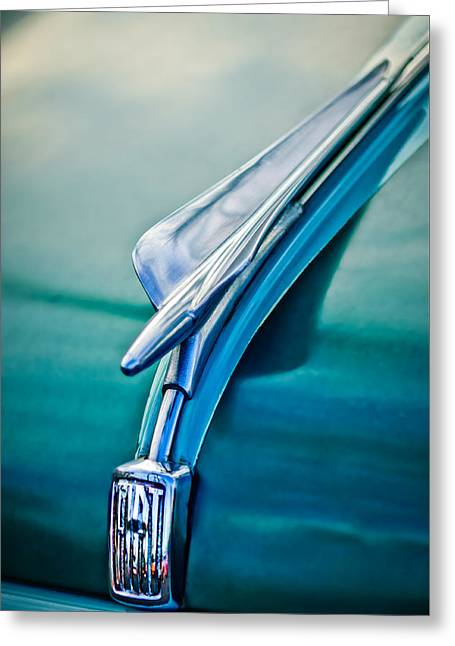 Collector Hood Ornament Greeting Cards - 1956 Fiat Hood Ornament 2 Greeting Card by Jill Reger