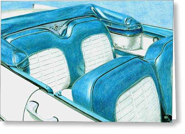 Americana Drawings Greeting Cards - 1956 Ford Fairlane Convertible 1 Greeting Card by Rob De Vries