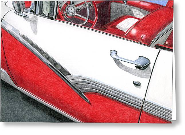 Americana Drawings Greeting Cards - 1956 Ford Fairlane Convertible 2 Greeting Card by Rob De Vries