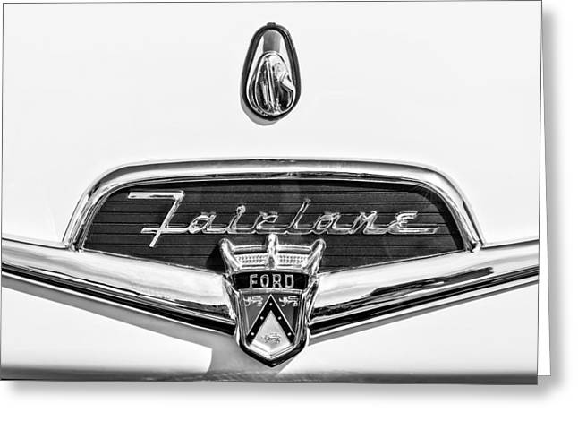 Fairlane Greeting Cards - 1956 Ford Fairlane Crown Victoria Emblem -184bw Greeting Card by Jill Reger