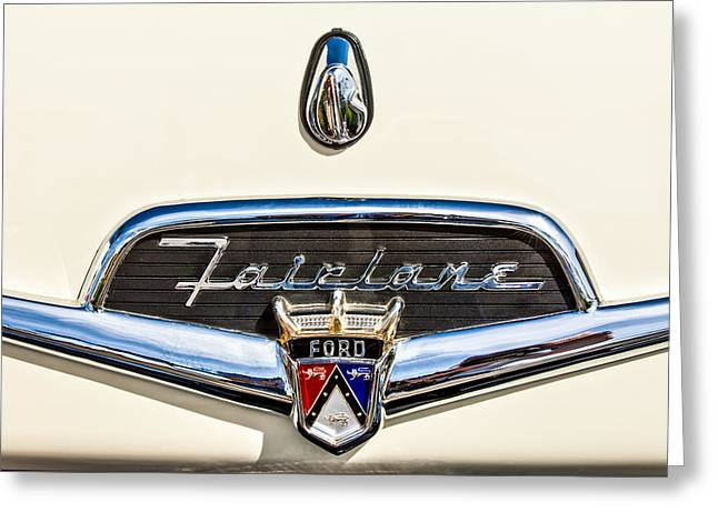 Famous Photographers Greeting Cards - 1956 Ford Fairlane Crown Victoria Emblem -184c Greeting Card by Jill Reger