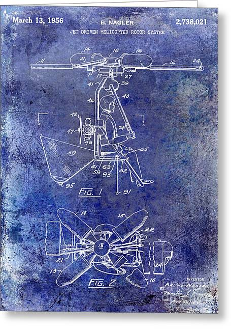 Helicopter Greeting Cards - 1956 Helicopter Patent Blue Greeting Card by Jon Neidert