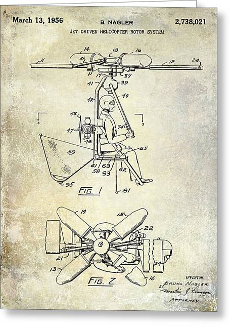 Helicopter Greeting Cards - 1956 Helicopter Patent Greeting Card by Jon Neidert