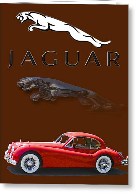 Jaguars Greeting Cards - 1956 Jaguar X K 140 Greeting Card by Jack Pumphrey
