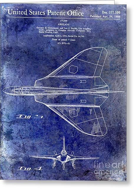 Antique Airplane Greeting Cards - 1956 Jet Airplane Patent Blue Greeting Card by Jon Neidert