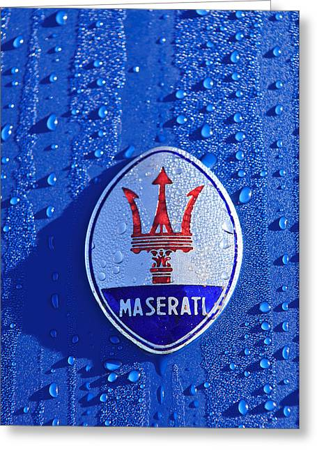 Car Mascot Greeting Cards - 1956 Maserati 350 S  Emblem -0402c Greeting Card by Jill Reger