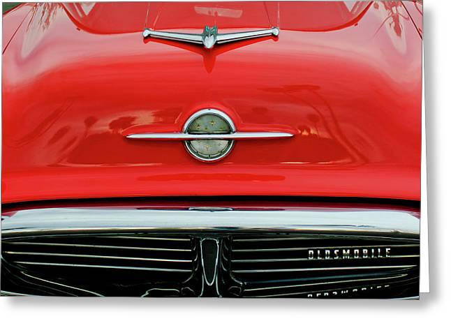 Car Mascot Greeting Cards - 1956 Oldsmobile Hood Ornament 4 Greeting Card by Jill Reger