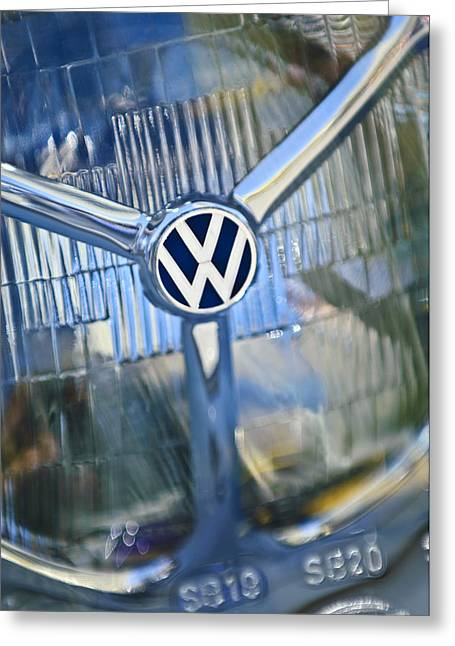 Professional Greeting Cards - 1956 Volkswagen VW Bug Head Light Greeting Card by Jill Reger