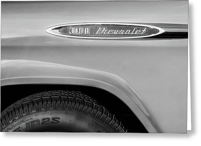 1957 Chevrolet 3100 Truck Emblem -0079bw Greeting Card by Jill Reger