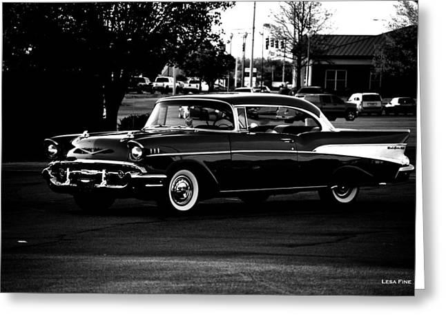 Auto Greeting Cards - 1957 Chevrolet Bel Air BW Greeting Card by Lesa Fine