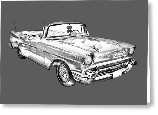 Eyebrow Greeting Cards - 1957 Chevrolet Bel Air Convertible Illustration Greeting Card by Keith Webber Jr