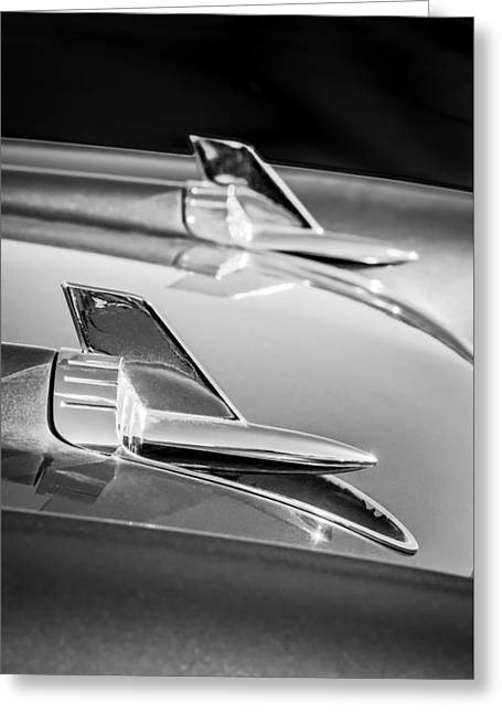 1957 Chevrolet Bel Air Hood Ornaments -114bw Greeting Card by Jill Reger