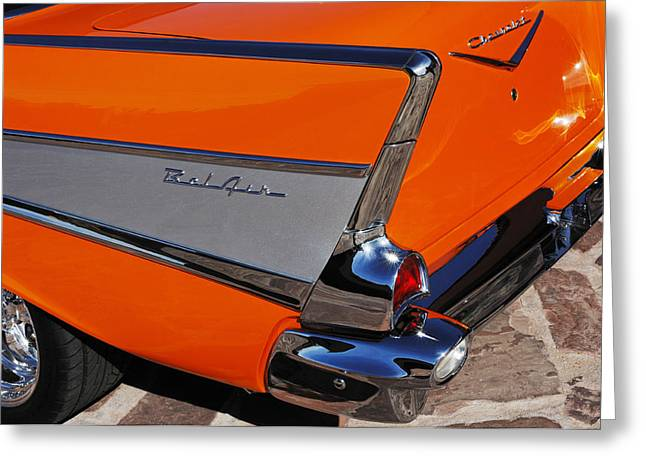 Car Part Greeting Cards - 1957 Chevrolet Belair Coupe Tail Fin Greeting Card by Jill Reger
