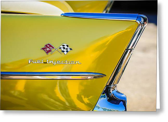 Injection Greeting Cards - 1957 Chevrolet Belair Fuel Injection Emblem -157c1 Greeting Card by Jill Reger