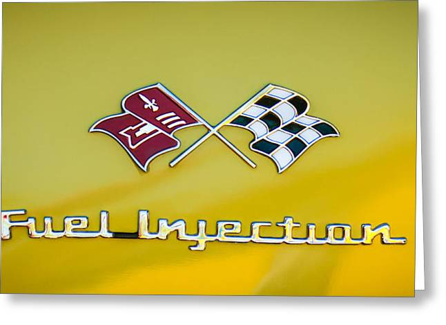 Injection Greeting Cards - 1957 Chevrolet Belair Fuel Injection Emblem -157c2 Greeting Card by Jill Reger