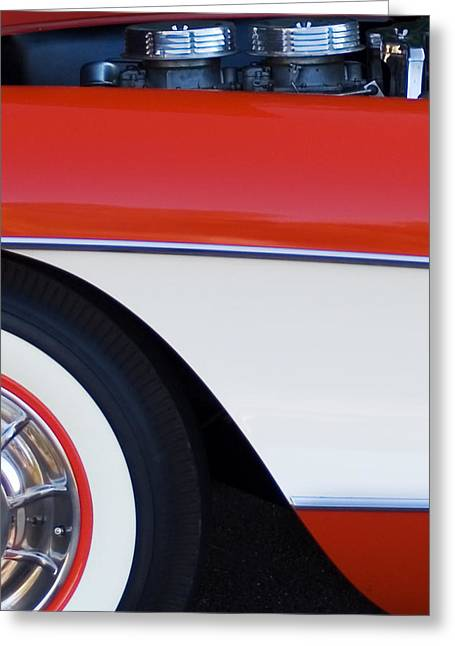 Car Part Greeting Cards - 1957 Chevrolet Corvette Convertible Front End Greeting Card by Jill Reger