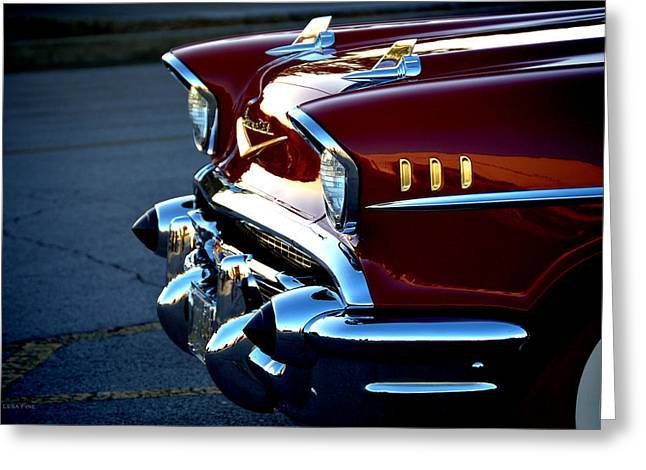 Automotive Greeting Cards - 1957 Chevrolet Lipstick Red Greeting Card by Lesa Fine