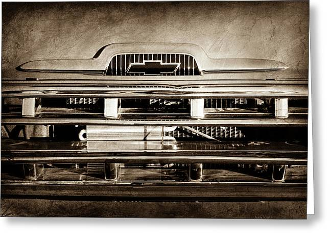 1957 Chevrolet Pickup Truck Grille Emblem -0324s Greeting Card by Jill Reger