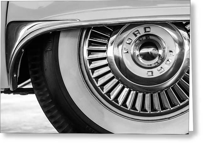 Famous Photographer Greeting Cards - 1957 Ford Thunderbird Wheel -031bw Greeting Card by Jill Reger
