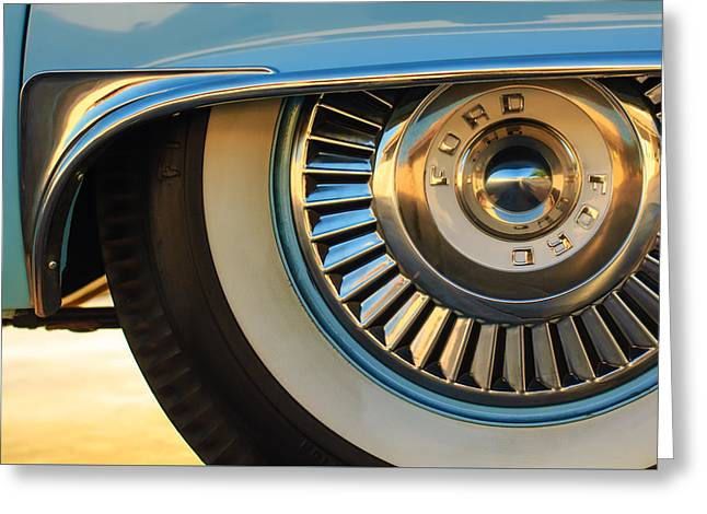 Famous Photographer Greeting Cards - 1957 Ford Thunderbird Wheel -031c2 Greeting Card by Jill Reger