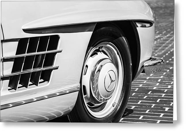 Famous Photographer Greeting Cards - 1957 Mercedes-Benz 300 SL Roadster Wheel Emblem -0121bw Greeting Card by Jill Reger