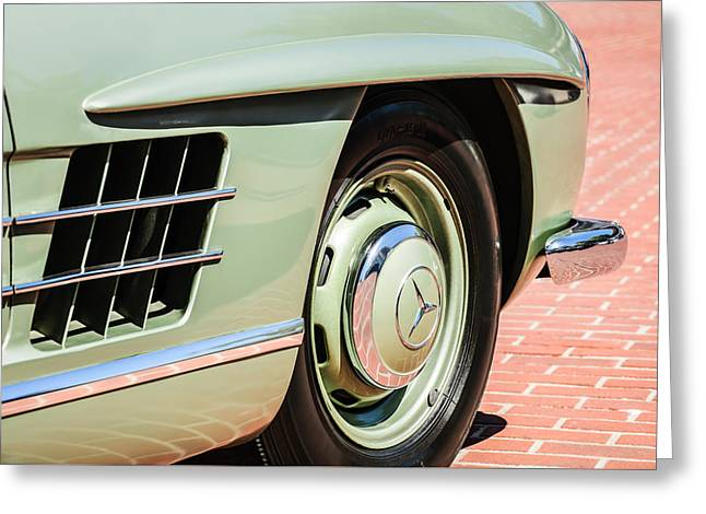 Famous Photographer Greeting Cards - 1957 Mercedes-Benz 300 SL Roadster Wheel Emblem -0121c Greeting Card by Jill Reger