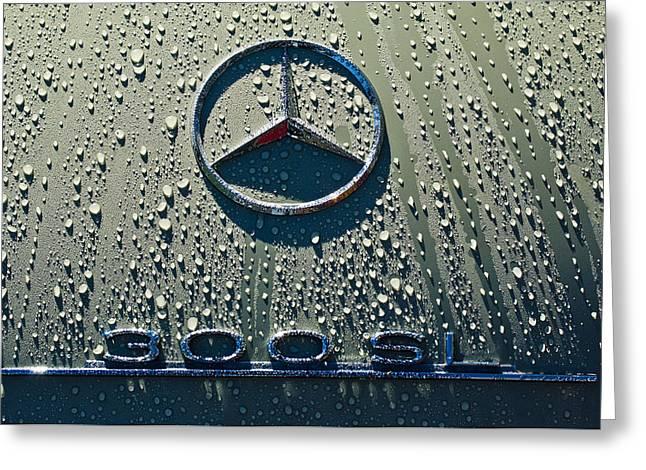 Hoodies Greeting Cards - 1957 Mercedes Benz 300SL Roadster Emblem Greeting Card by Jill Reger