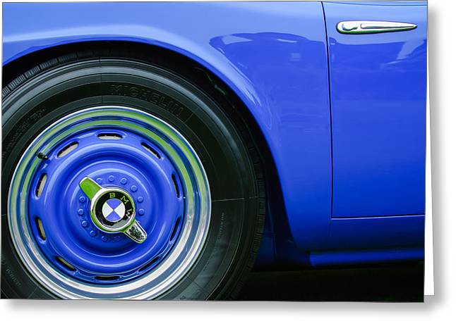 Famous Photographers Greeting Cards - 1958 BMW 507 Series II Roadster Wheel Emblem -2391c Greeting Card by Jill Reger
