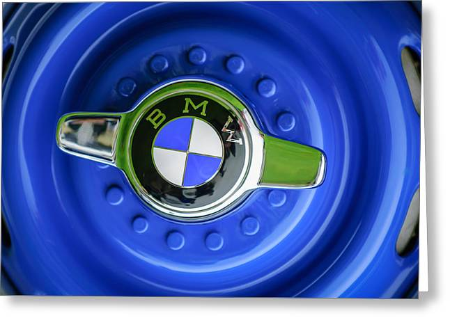 Famous Photographers Greeting Cards - 1958 BMW 507 Series II Roadster Wheel Emblem -2398c Greeting Card by Jill Reger