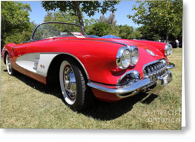 Domestic Cars Greeting Cards - 1958 Chevrolet Corvette . 5D16220 Greeting Card by Wingsdomain Art and Photography