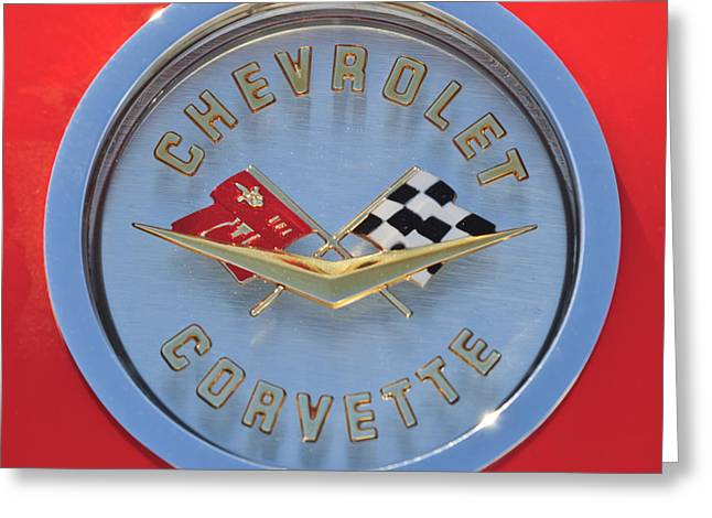 Collector Hood Ornament Greeting Cards - 1958 Chevrolet Corvette Emblem Greeting Card by Jill Reger